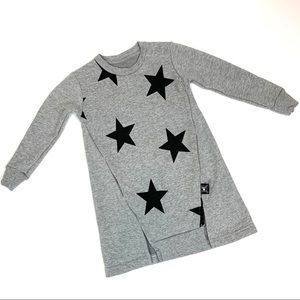 Nununu Stars Sweatshirt Dress Gray 12-18 months